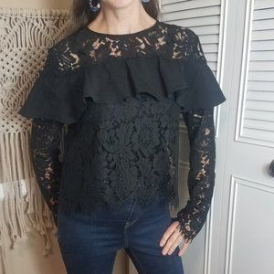 Do & Be black lace ruffle blouse size medium